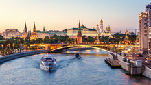 Panorama Of Moscow Kremlin At Moskva River, Russia. Beautiful View Of Famous City Center At Sunset. Moscow Cityscape In Summer Evening.