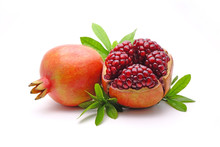 Pomegranate Whole And Cut With...