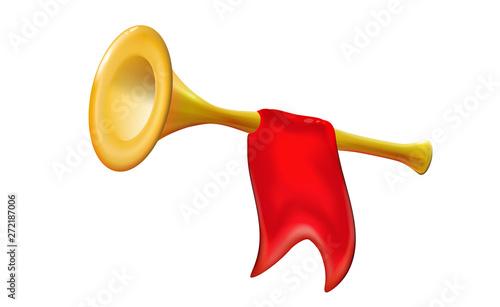 Obraz na plátně 3d Fanfare gold trumpet