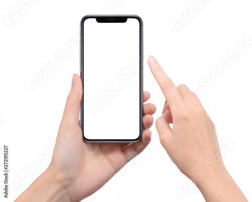 Fototapeta スマートフォンを操作する女性の手 obraz
