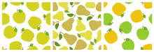 Apple And Pear. Fruit Seamless Pattern Set. Fashion Design. Food Print For Clothes, Linens Or Curtain. Hand Drawn Vector Sketch. Garden Background Collection