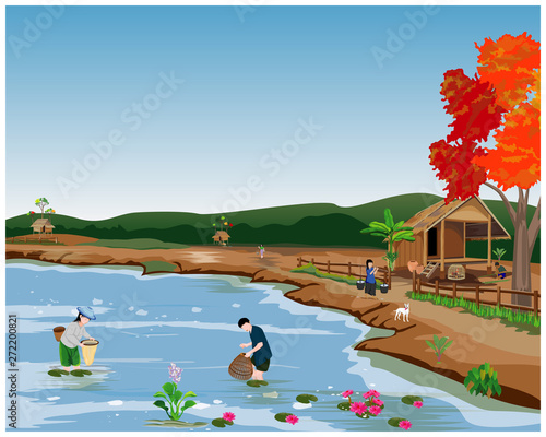 Foto auf Gartenposter Fluss, See lifestyle of people at countryside vector design