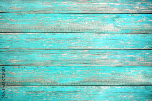 Foto auf Gartenposter Holz Vintage beach wood background - Old weathered wooden plank painted in turquoise or blue sea color. hardwood floor
