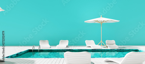 Swimming pool with beach umbrella and chairs Wallpaper Mural