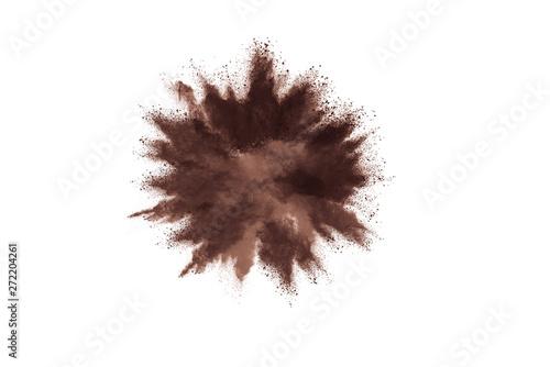 Valokuvatapetti Brown powder explosion isolated on white background.