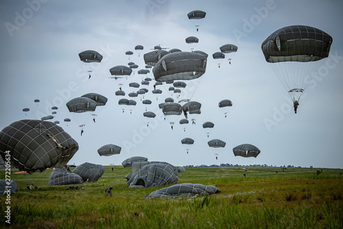 parachutist helicopter airborne operations airplane explosions missiles Wallpaper Mural