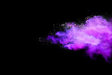 Abstract Powder Splatted Background. Colorful Powder Explosion On Black Background. Colored Cloud. Colorful Dust Explode. Paint Holi.