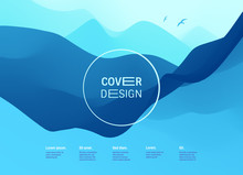 Cover Design Template. Landscape With Mountains. Abstract Background With Color Gradient. Applicable For Placards, Flyers, Banners, Book Covers, Brochures, Planners And Notebooks. Vector Illustration.