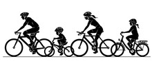 Family Cycling Together Silhou...