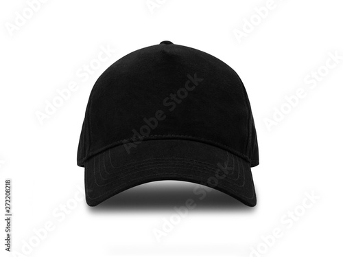 Obraz na plátně Black baseball cap isolated on white background with clipping path