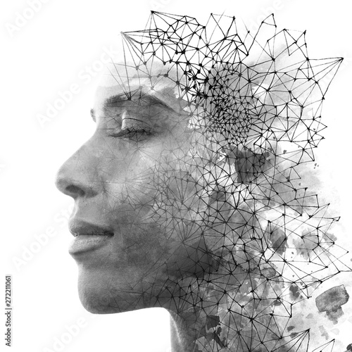 Double exposure. Paintography. Close up portrait of an attractive woman with strong ethnic features combined with unusual hand drawn painting, black and white Wall mural