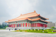 Famous National Theater Hall Of Taiwan At National Taiwan Democracy Square Of Chiang Kai-Shek Memorial Hall,Taipei, Taiwan