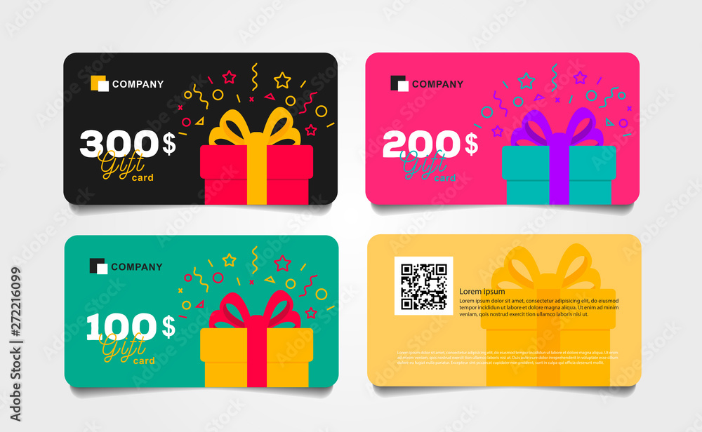 Fototapeta Shopping gift cards template set with gift box and dollar numbers vector illustration, Voucher layout front and back