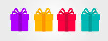 Set Of Coloured Surprise Gift Boxes, Flat Modern Graphic