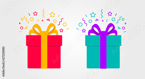 Fototapeta Surprise gift box with confetti in two colours obraz