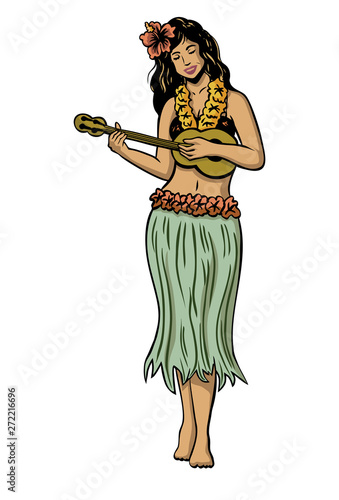 Illustration of a Hula girl dancing isolated on white background, Vector