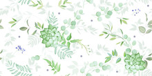 Seamless Pattern With Elegant Greenery And Succulent,watercolor Effect