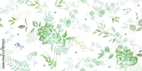 Photo  Seamless pattern with elegant greenery and succulent,watercolor effect