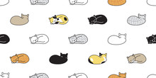 Cat Seamless Pattern Vector Ki...