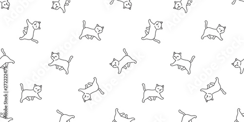fototapeta na lodówkę cat seamless pattern vector kitten calico walking cartoon scarf isolated tile background repeat wallpaper doodle illustration white