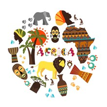 Flat African Ethnic Elements Round Concept