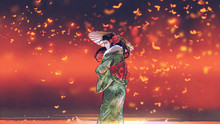 Young Asian Girl In Japanese Traditional Clothes Holds An Umbrella Standing Against Fantasy Place With Glowing Insects Flying Around, Digital Art Style, Illustration Painting