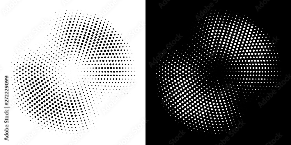 Fototapeta Halftone circle frame dotted background set. Round border Icon using halftone random circle dots raster texture. Grunge circular stain. Vector illustration.