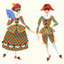Harlequin And Columbina. Chara...