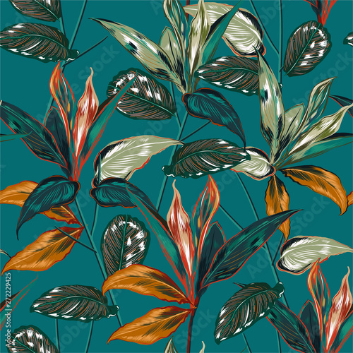 Retro Tropical forest  botanical Motifs scattered random. Seamless vector texture Floral pattern in the many kind of wild plants Printing with in hand drawn style