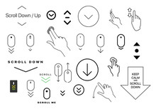 Modern Linear Pictogram Of Scroll Down. Set Of Concept Line Icons Scroll Down. Icons Of Scroll Down. Scroll Down Up Computer Mouse Icon. Set Of Scrolling Icons For A Website, Web Design, Mobile Apps