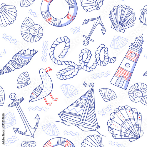 Poster Doodle Sea theme seamless pattern in doodle boho style