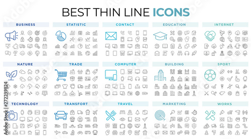 Aluminium Prints Wild West thin line icons
