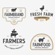 Farmers Market Logo Templates Stamps Labels Badges Set. Trendy Retro Style Logotypes, Farm Natural Organic Products Food, Animals, Beef, Goat, Hen And Pig Silhouettes.