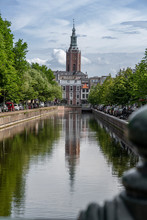 Saint James Church Reflected On The Canal Calm Water Nested To The Royal Stable, In The Hague