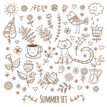 Vector Summer Set. Plants, Cat...