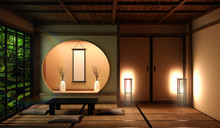 Japan Style Living Area In Luxury Room Or Hotel Japanese Style Decoration.3D Rendering