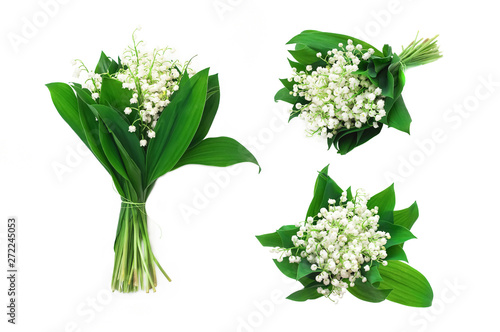 Wall Murals Lily of the valley Set of bouquets of flowers and leaves of lily of the valley on an isolated white background