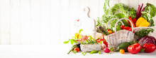 Still Life With Various Types Of Fresh Vegetables