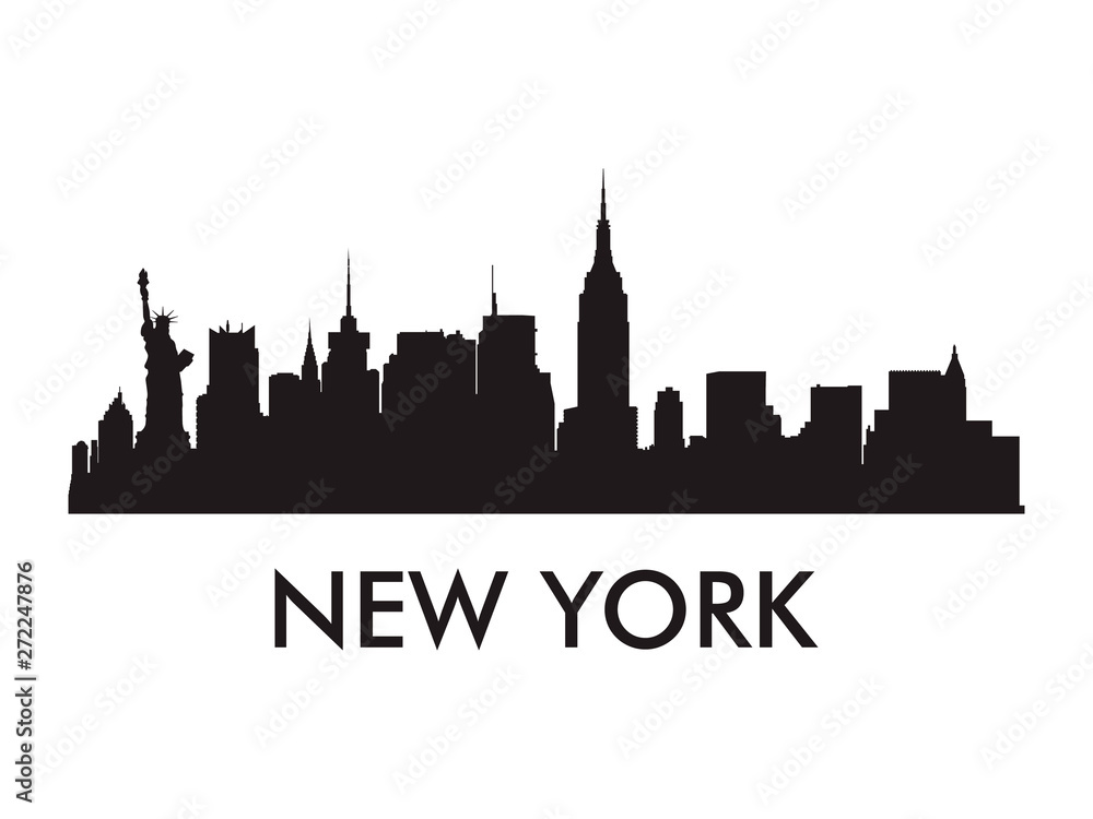 Fototapety, obrazy: New York skyline silhouette vector of famous places