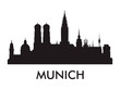 Munich skyline silhouette vector of famous places