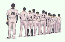 Illustration Of Baseball Team Standing In Line At Beginning Of Game