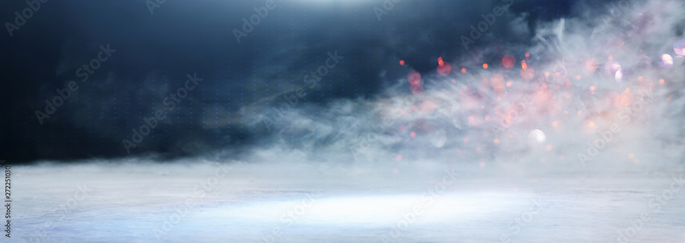 Fototapety, obrazy: abstract dark concentrate floor scene with mist or fog, spotlight, glitter for display