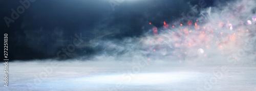 Fotografia  abstract dark concentrate floor scene with mist or fog, spotlight, glitter for d