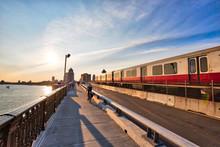 Boston, MA, USA-20 October, 2018: Boston MBTA Subway Lines, Train Crossing Longfellow Bridge Over Scenic Charles River