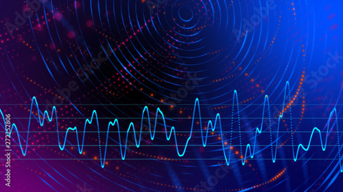 Foto op Plexiglas Abstract wave Smart startup business strategy technology in vital signal digital world, digital world cyber space galaxy star future innovation technology abstract neon color, 3D Rendering.