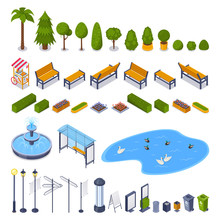 City Streets And Public Park 3d Isometric Design Elements. Vector Urban Outdoor Landscape Icons.
