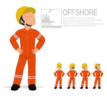 Offshore Worker In Jumpsuit Ar...
