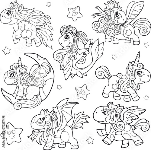 cartoon cute little pony coloring book funny illustration – kaufen ...