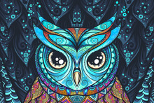 Owl With Tribal Ornament. Vect...