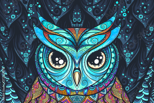 Tuinposter Uilen cartoon Owl with tribal ornament. Vector eps10 illustration.